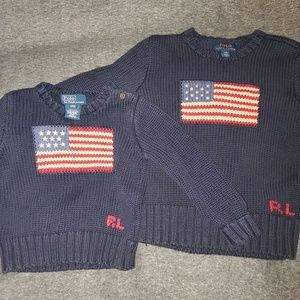 2 kids Ralph Lauren Polo american flag sweaters